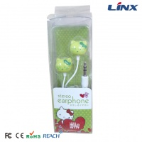 Hello kitty cartoon earphone with color portable gift box