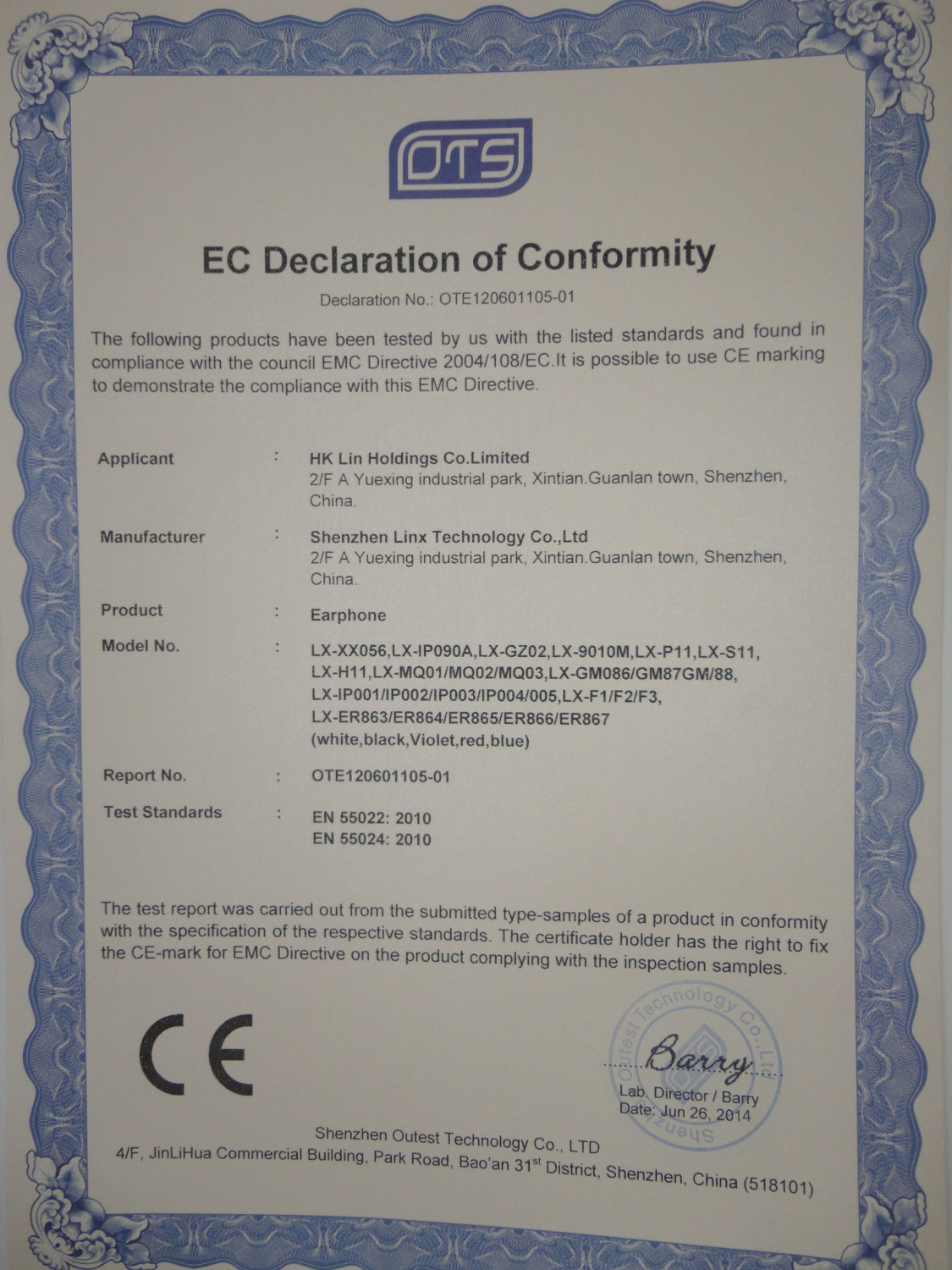 CE certificate for Earphone