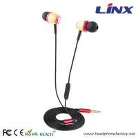 stylish wood earphone for mobile phone with microphone LX-W004