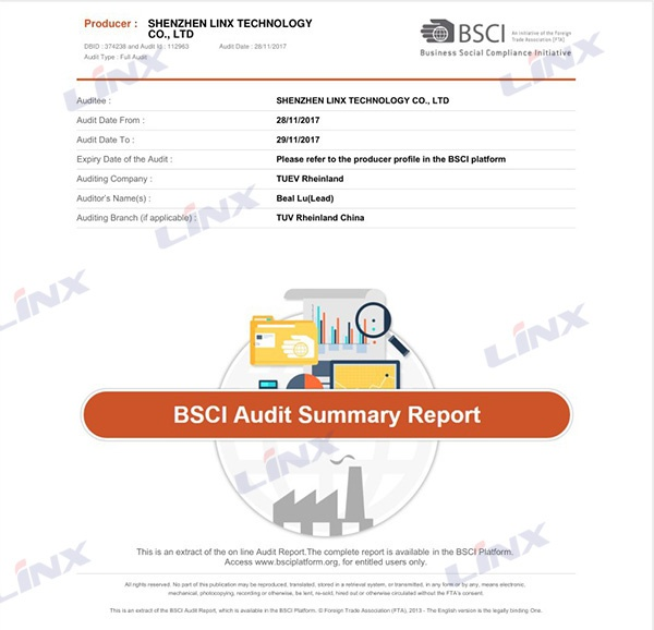 BSCI Audit Summary Report 1
